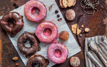 шоколад, сладкое, пончики, печенье, выпечка, десерт, глазурь
