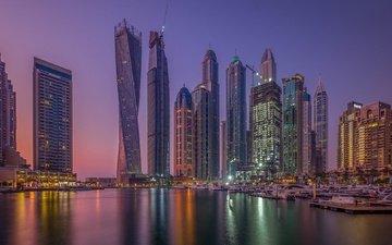 night, lights, reflection, skyscrapers, dubai, uae