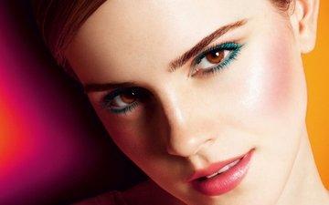 девушка, портрет, взгляд, модель, волосы, лицо, актриса, макияж, эмма уотсон, карие глаза