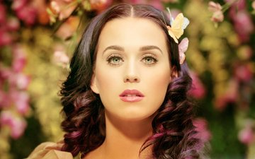 girl, look, hair, face, butterfly, singer, bokeh, katy perry