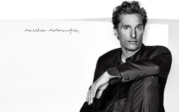 look, black and white, actor, shirt, matthew mcconaughey