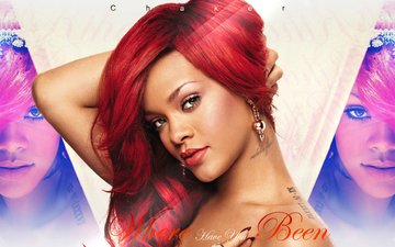 girl, look, red, hair, face, actress, singer, earrings, rihanna, redhead