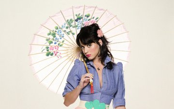 girl, look, hair, umbrella, face, singer, katy perry