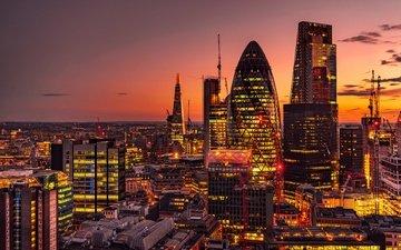 закат, панорама, лондон, небоскребы, ночной город, англия, здания