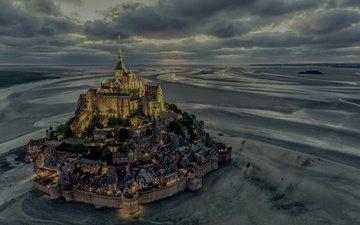 castle, france, the monastery, normandy, mont-saint-michel