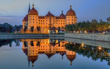 вода, озеро, отражение, замок, германия, дрезден, морицбург, замок морицбург