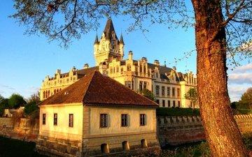 the sky, tree, castle, the city, austria, grafenegg, the castle of grafenegg, castle grafenegg