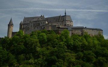 the sky, clouds, trees, castle, luxembourg, vianden, vianden castle