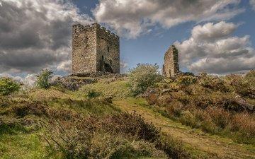 небо, облака, замок, великобритания, руины, башня, уэльс, долвиделан