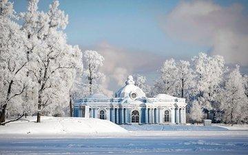 снег, зима, парк, иней, россия, архитектура, здание, санкт-петербург