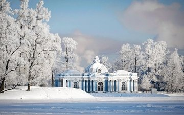 snow, winter, park, frost, russia, architecture, the building, saint petersburg