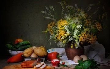 цветы, зелень, букет, овощи, яйца, помидоры, натюрморт, перец, картошка, огурцы, сало