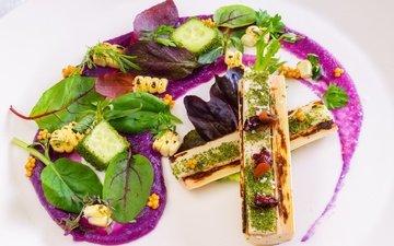 зелень, еда, овощи, соус, салат, закуска
