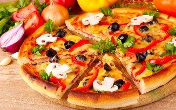 зелень, грибы, сыр, помидоры, оливки, перец, пицца, начинка, тесто, итальянская кухня