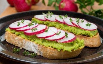 зелень, хлеб, бутерброды, редис
