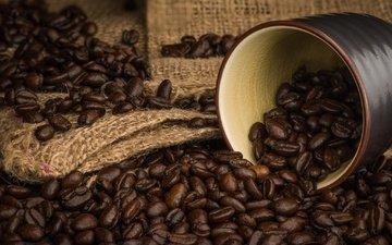 зерна, кофе, чашка, кофейные зерна, аромат, мешковина