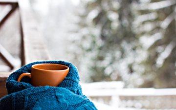 зима, кофе, окно, чашка, шарф