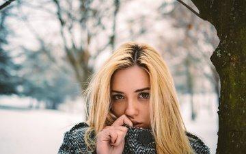 winter, girl, portrait, look, hair, face
