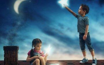 звезды, дети, девочка, мальчик, крыша, месяц
