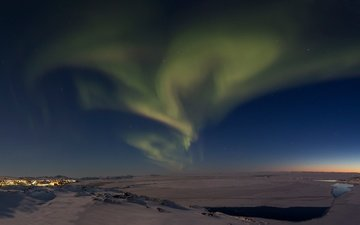 the sky, stars, horizon, northern lights, dal