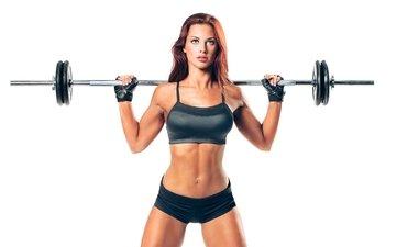 девушка, модель, спорт, фигура, штанга, фитнесс