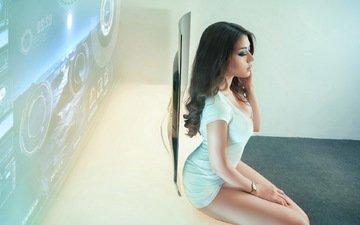 девушка, поза, брюнетка, часы, модель, профиль, азиатка