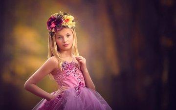 flowers, look, children, girl, hair, face, child, wreath, pink dress
