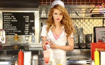 девушка, кафе, взгляд, форма, рыжая, волосы, лицо, актриса, белла торн