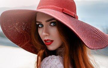 девушка, портрет, взгляд, рыжая, лицо, макияж, помада, боке, георгий чернядьев, надежда неясова
