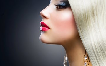 girl, blonde, portrait, look, model, profile, face, makeup, earrings, red lips
