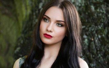 girl, portrait, look, hair, lips, face, makeup, nastya, inese stoner, anastasia, red hubka