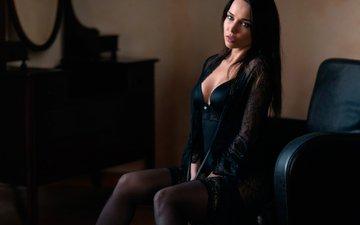 девушка, брюнетка, взгляд, модель, сидит, чулки, волосы, лицо, кресло, ангелина петрова