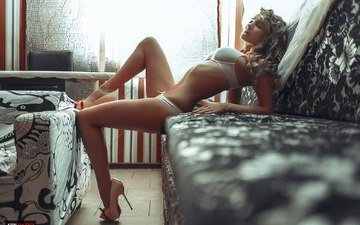 girl, pose, blonde, legs, sofa, closed eyes, white linen, evgeniy apin