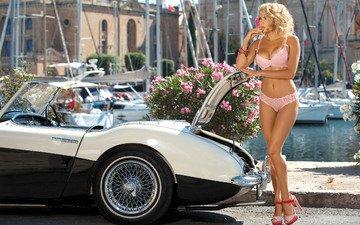 цветы, девушка, фото, блондинка, лодки, модель, яхта, курорт, фигура, автомобиль, белье, катер, кабриолет, розовое белье, adelina tomhson, татьяна веревкина