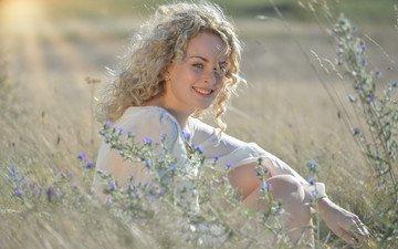 flowers, grass, girl, blonde, smile, meadow, model