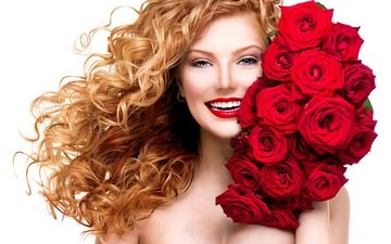 flowers, girl, smile, roses, look, red, model, bouquet, face, makeup, red lips, curly