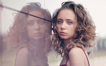 девушка, отражение, портрет, модель, лицо, стекло, кудрявая, голубоглазая, натали