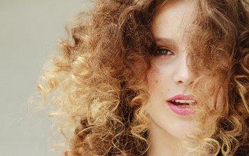 girl, portrait, look, model, hair, lips, face, curly