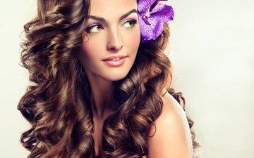 girl, flower, smile, look, model, hair, makeup, curly
