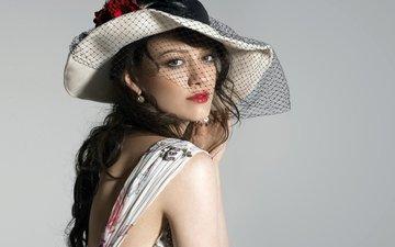 девушка, взгляд, модель, лицо, актриса, макияж, шляпа, вуаль, хилари дафф