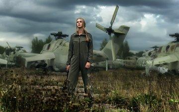 девушка, самолет, пилот, взгляд, авиация, волосы, лицо, вертолеты, комбинезон, елена, летчица, tatiana mercalova