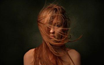 фон, портрет, волосы, лицо, ветер, рыжеволосая, катя