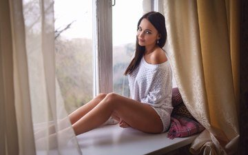 girl, curtains, pose, brunette, look, legs, window, earrings, pillow, sill, blue-eyed, tulle, angelina petrova