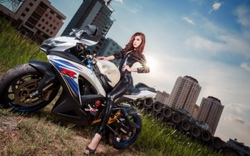 girl, the city, look, hair, motorcycle, asian, suzuki