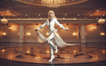 lights, girl, blonde, hall, model, cosplay, saber, fate/stay night, ballroom