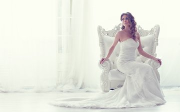 girl, look, sitting, hair, face, chair, white dress, the bride, bare shoulders