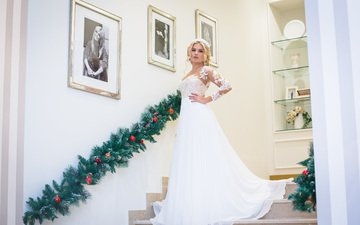 steps, girl, blonde, model, the bride, photoshoot, wedding dress