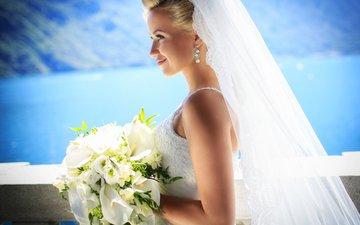 girl, blonde, smile, profile, the bride, veil, wedding bouquet