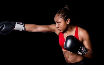 girl, boxing, sports wear, training, boxing gloves