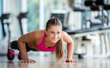 девушка, модель, фитнес, спортивная одежда, тренировки, отжимание